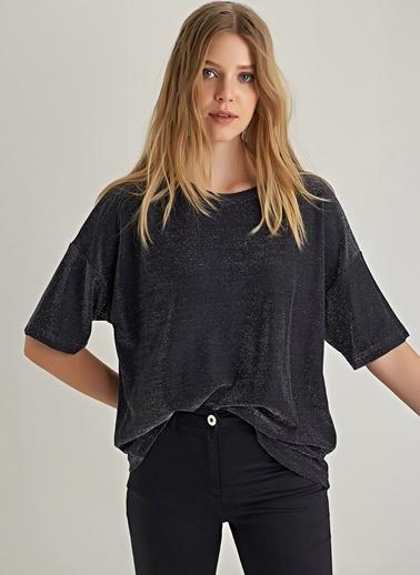 NGSTYLE Simli Oversize Bluz Siyah